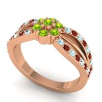 Simple Floral Pave Kalikda Peridot Ring with Garnet and Aquamarine in 14K Rose Gold