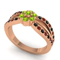 Simple Floral Pave Kalikda Peridot Ring with Garnet and Black Onyx in 14K Rose Gold