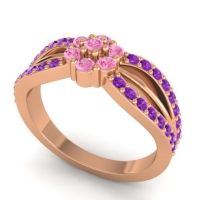 Simple Floral Pave Kalikda Pink Tourmaline Ring with Amethyst in 18K Rose Gold