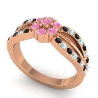 Simple Floral Pave Kalikda Pink Tourmaline Ring with Aquamarine and Black Onyx in 14K Rose Gold