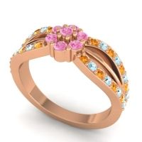 Simple Floral Pave Kalikda Pink Tourmaline Ring with Aquamarine and Citrine in 14K Rose Gold