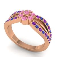 Simple Floral Pave Kalikda Pink Tourmaline Ring with Blue Sapphire and Amethyst in 14K Rose Gold