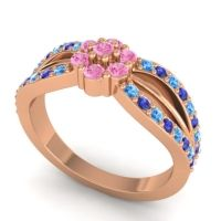 Simple Floral Pave Kalikda Pink Tourmaline Ring with Blue Sapphire and Swiss Blue Topaz in 18K Rose Gold