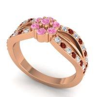 Simple Floral Pave Kalikda Pink Tourmaline Ring with Garnet and Diamond in 14K Rose Gold