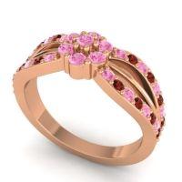 Simple Floral Pave Kalikda Pink Tourmaline Ring with Garnet in 14K Rose Gold