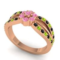 Simple Floral Pave Kalikda Pink Tourmaline Ring with Peridot and Black Onyx in 18K Rose Gold
