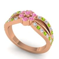 Simple Floral Pave Kalikda Pink Tourmaline Ring with Peridot and Diamond in 18K Rose Gold
