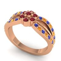 Simple Floral Pave Kalikda Ruby Ring with Citrine and Blue Sapphire in 14K Rose Gold