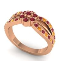 Simple Floral Pave Kalikda Ruby Ring with Citrine in 14K Rose Gold