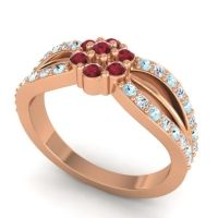 Simple Floral Pave Kalikda Ruby Ring with Diamond and Aquamarine in 18K Rose Gold