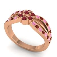 Simple Floral Pave Kalikda Ruby Ring with Garnet and Pink Tourmaline in 18K Rose Gold