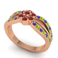 Simple Floral Pave Kalikda Ruby Ring with Peridot and Blue Sapphire in 18K Rose Gold