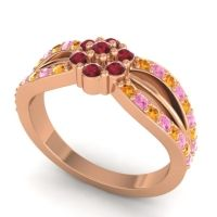 Simple Floral Pave Kalikda Ruby Ring with Pink Tourmaline and Citrine in 18K Rose Gold