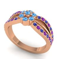 Simple Floral Pave Kalikda Swiss Blue Topaz Ring with Amethyst and Blue Sapphire in 18K Rose Gold