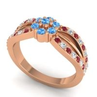 Simple Floral Pave Kalikda Swiss Blue Topaz Ring with Diamond and Ruby in 18K Rose Gold