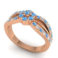 Simple Floral Pave Kalikda Swiss Blue Topaz Ring with Diamond in 18K Rose Gold