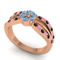 Simple Floral Pave Kalikda Swiss Blue Topaz Ring with Pink Tourmaline and Black Onyx in 14K Rose Gold