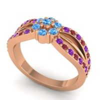Simple Floral Pave Kalikda Swiss Blue Topaz Ring with Ruby and Amethyst in 14K Rose Gold