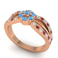 Simple Floral Pave Kalikda Swiss Blue Topaz Ring with Ruby and Diamond in 18K Rose Gold