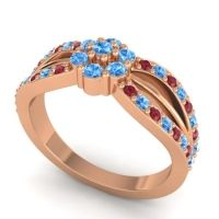 Simple Floral Pave Kalikda Swiss Blue Topaz Ring with Ruby in 14K Rose Gold