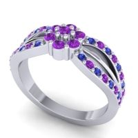 Simple Floral Pave Kalikda Amethyst Ring with Blue Sapphire in Palladium