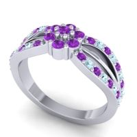 Simple Floral Pave Kalikda Amethyst Ring with Aquamarine in 18k White Gold