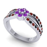 Simple Floral Pave Kalikda Amethyst Ring with Black Onyx and Garnet in Palladium