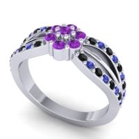 Simple Floral Pave Kalikda Amethyst Ring with Blue Sapphire and Black Onyx in Platinum