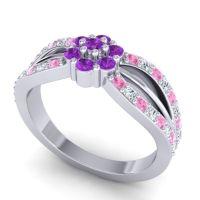 Simple Floral Pave Kalikda Amethyst Ring with Diamond and Pink Tourmaline in Palladium