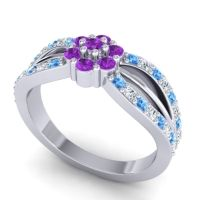 Simple Floral Pave Kalikda Amethyst Ring with Diamond and Swiss Blue Topaz in 18k White Gold