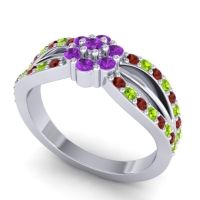 Simple Floral Pave Kalikda Amethyst Ring with Peridot and Garnet in 18k White Gold