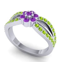 Simple Floral Pave Kalikda Amethyst Ring with Peridot in Platinum