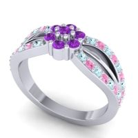 Simple Floral Pave Kalikda Amethyst Ring with Pink Tourmaline and Aquamarine in Palladium