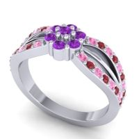 Simple Floral Pave Kalikda Amethyst Ring with Ruby and Pink Tourmaline in 14k White Gold