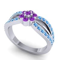 Simple Floral Pave Kalikda Amethyst Ring with Swiss Blue Topaz in 14k White Gold