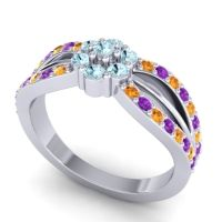 Simple Floral Pave Kalikda Aquamarine Ring with Amethyst and Citrine in 14k White Gold