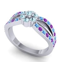 Simple Floral Pave Kalikda Aquamarine Ring with Amethyst and Swiss Blue Topaz in 14k White Gold