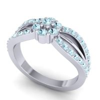 Simple Floral Pave Kalikda Aquamarine Ring in Palladium
