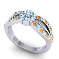Simple Floral Pave Kalikda Aquamarine Ring with Citrine in 18k White Gold