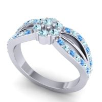 Simple Floral Pave Kalikda Aquamarine Ring with Swiss Blue Topaz in 14k White Gold