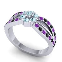 Simple Floral Pave Kalikda Aquamarine Ring with Black Onyx and Amethyst in 18k White Gold