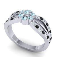 Simple Floral Pave Kalikda Aquamarine Ring with Black Onyx and Diamond in Platinum