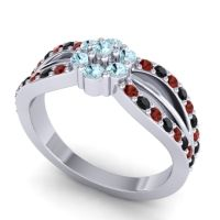 Simple Floral Pave Kalikda Aquamarine Ring with Black Onyx and Garnet in 14k White Gold