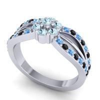 Simple Floral Pave Kalikda Aquamarine Ring with Black Onyx and Swiss Blue Topaz in Palladium
