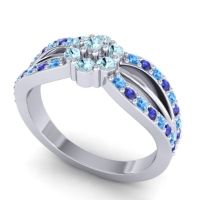 Simple Floral Pave Kalikda Aquamarine Ring with Blue Sapphire and Swiss Blue Topaz in Palladium