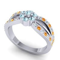 Simple Floral Pave Kalikda Aquamarine Ring with Citrine and Diamond in 14k White Gold