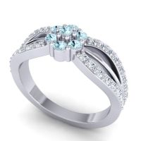 Simple Floral Pave Kalikda Aquamarine Ring with Diamond in 18k White Gold