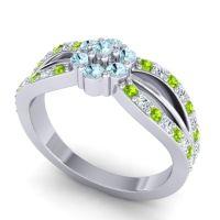 Simple Floral Pave Kalikda Aquamarine Ring with Diamond and Peridot in Palladium