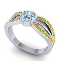 Simple Floral Pave Kalikda Aquamarine Ring with Peridot and Citrine in 14k White Gold