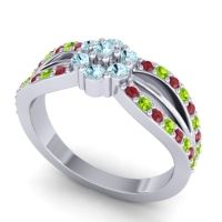 Simple Floral Pave Kalikda Aquamarine Ring with Peridot and Ruby in 14k White Gold